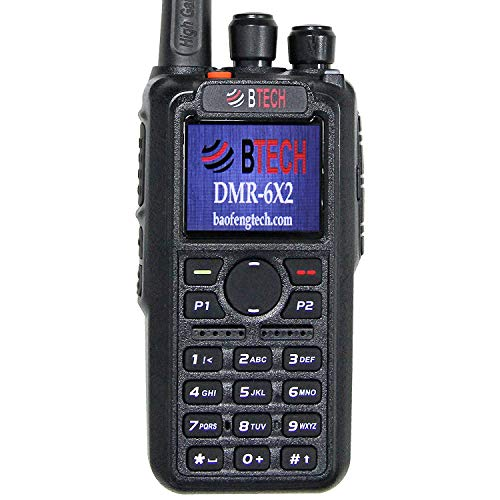 BTECH DMR-6X2 (DMR and Analog) 7-Watt Dual Band Two-Way Radio (136-174MHz VHF & 400-480MHz UHF), with GPS and Recording, Includes Full Kit with 2 Batteries, Programming Cable, and More
