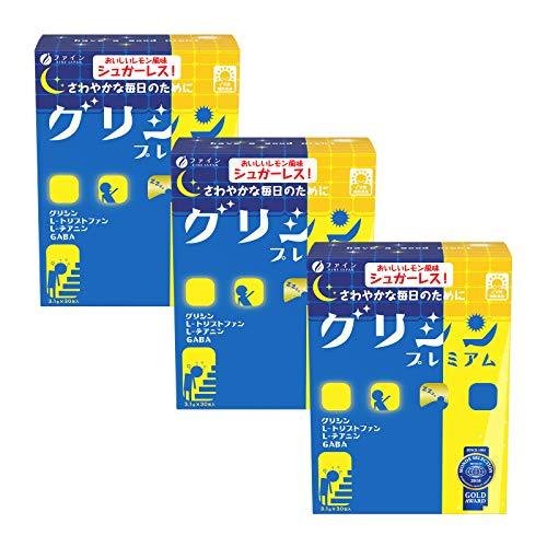 ファイン グリシン プレミアム レモン風味 GABA テアニン トリプトファン 配合 国内生産 30日分(1日1包/30包入) ×3個セット