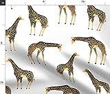 Spoonflower Stoff - Giraffen Giraffe Tier Safari Gelb Zoo