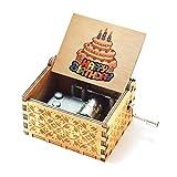 Evelure Caja de música de Madera de Feliz cumpleaños, música de Feliz cumpleaños, antigüedad, Tallada a Mano, Madera, decoración del hogar, Idea de Regalo para niños (Wood)