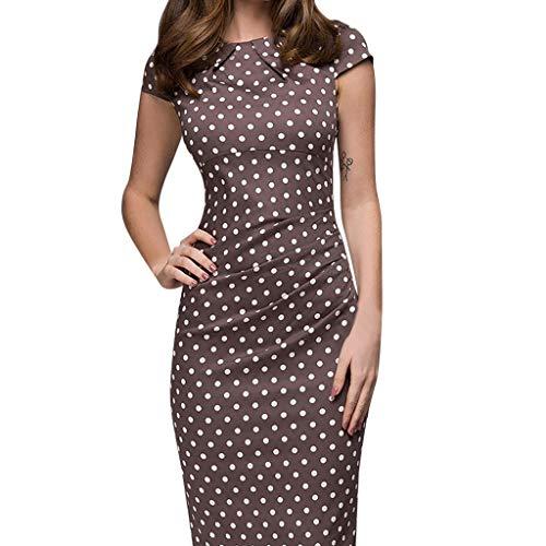 Janly Clearance Sale Vestidos para mujer verano, elegantes fajas de punto ondulado, hasta la rodilla, vestido casual de manga corta, vestido estampado para invitadas de boda (marrón-XL)