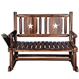 Outdoor Rocking Chair (Double) - Porch Rustic Rocker with Armrest Storage Bag - Brown