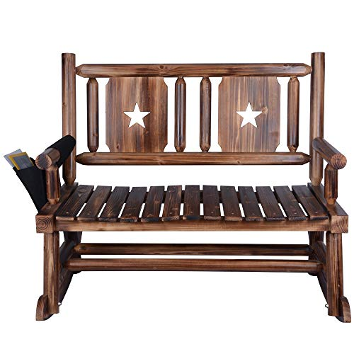 Outdoor Rocking Chair Bench (2 Seats) - Rustic Wood Porch DoubleRocker Rustic with Armrest Paper Storage Bag - Brown