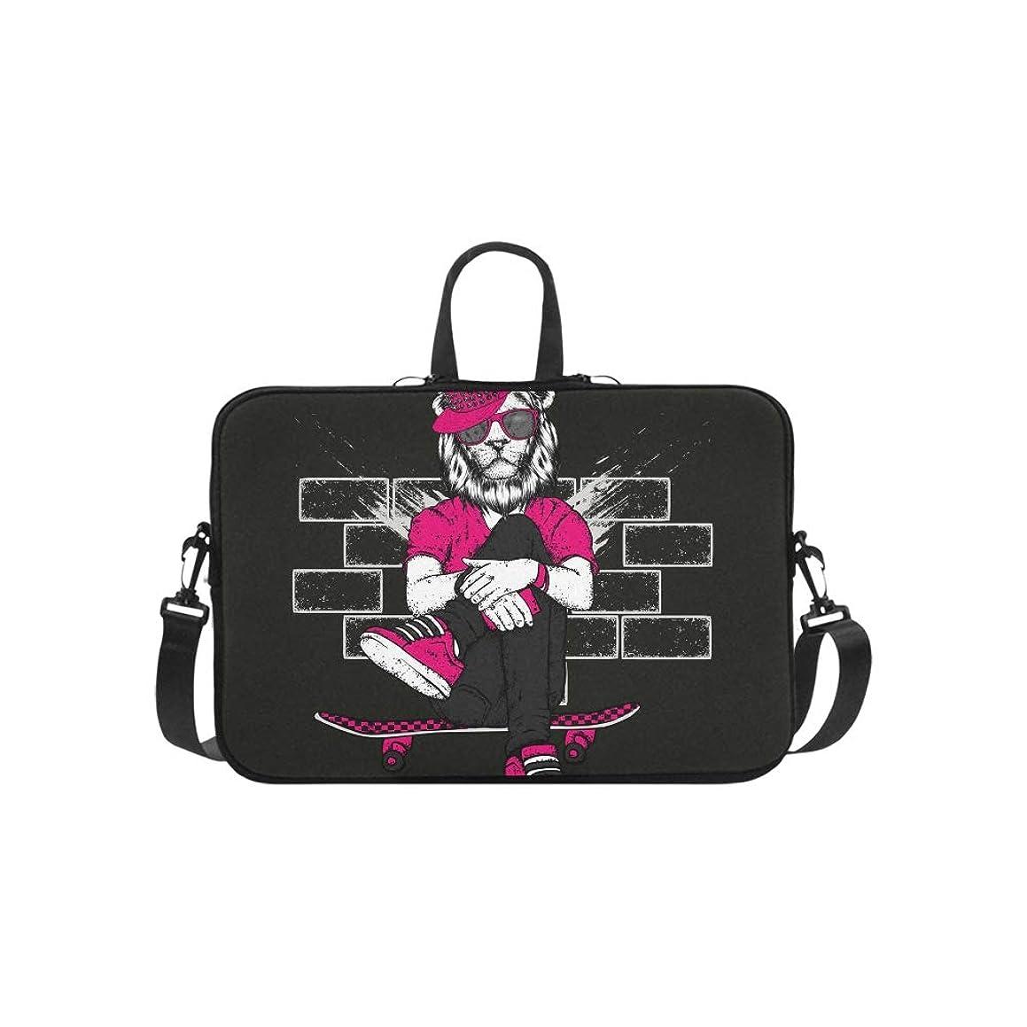 Beautiful Lion with Headphones Pattern Briefcase Laptop Bag Messenger Shoulder Work Bag Crossbody Handbag for Business Travelling