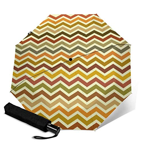 Premium Windproof Umbrella,Autumn Waves Chevron Zigzag Travel Folding Automatic tri-fold Umbrella Compact Umbrella Lightweight SunRain Umbrella FACAI