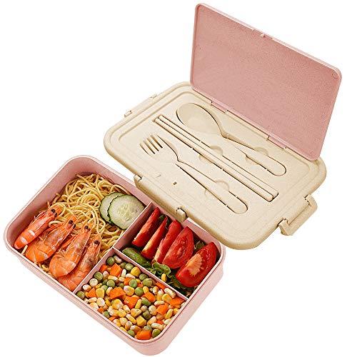 Lunch Box Niños, ZoneYan Fiambrera Compartimentos Eco, Bento Box Adulto, Fiambrera Infantil, Fiambreras con 3 Compartimentos, con Cubiertos, Lonchera a Prueba de Fugas,Caja de Bento Microondas(Rosado)