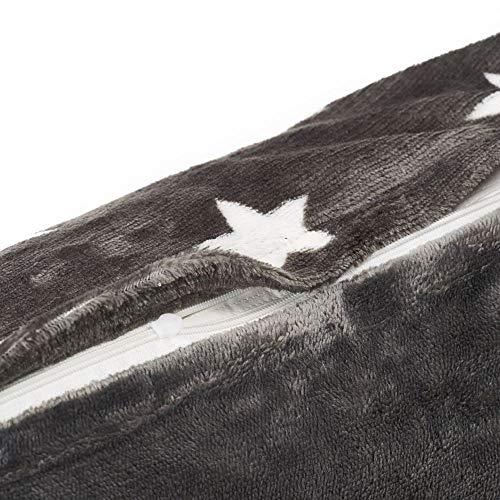 MALIKA Nicky-Teddy Cashmere Touch Coral Fleece Kissenbezug Kissenhülle Seitenschläfer Stillkissen 40x145, Designe:Sterne-GRAU