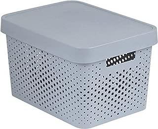 Curver 04742-099-00Infinity Points Plastic Storage Box with Lid, Light Grey, 36.3x 27x 22 cm, 17 L