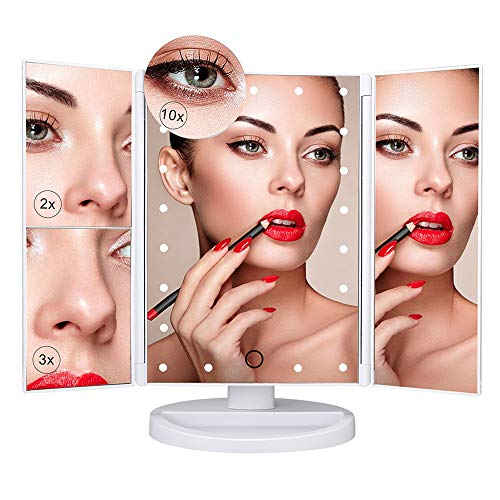 Vanity Makeup Mirror 1x/2x/3x/10x Magnification 21 LED Lights Touch Screen Switch Tri-Fold Design 180° Rotation Power by USB Charging or AAA Batteries Storable Tray Cosmetic Mirror (Silver)