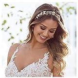 SWEETV Gold Wedding Headband Bohemian Headpiece for Bridal Hair Pieces Crystal Pearl Hair Vine Flower Halo Wedding Hair Accessories