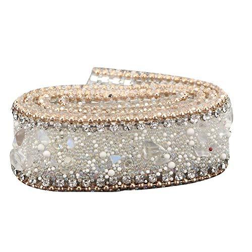 Cinta de diamantes de imitación, adornos de cuentas de diamantes de imitación, cristal para zapatos, bolsa de ropa, decoración de banquete de boda, 2 cm de ancho(oro + blanco)