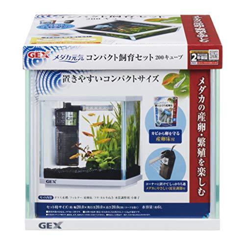 ジェックス メダカ元気 コンパクト飼育セット200キューブ メダカにやさしい水流調節付きフィルター付