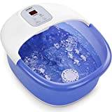 Foot Spa/Bath Massager with 14 Massage Rollers and Heat Bubbles Vibration, Digital Temperature Control Pedicure Tub Bath, Soothe Tired Feet Pressure