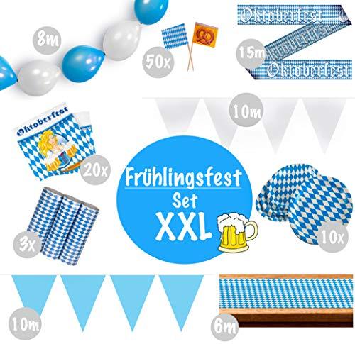 Oktoberfest Decoratieset XXL | Party Set meer dan 60 delen | Tafelloper Kartonnen borden Servetten Luchtballonnen Luchtslangenvlaggetjes in de kleuren blauw wit | Decoratie Cannetleger Wasen voorjaarsfeest Beieren