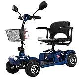 Krankenfahrstuhl Elektromobil Elektrisch 4 Räder Bis 25 Km,250w E Scooter Motor Mit Straßenzulassung,seniorenfahrzeug Seniorenmobil Elektrostuhl E-mobil Elektroroller,20ah Batterie,Blue