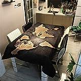 Morbuy Nappe Rectangulaire Nappe de Table Imperméable Étanche à l'Huile Ménage Table Basse Extérieure Nappe Lavable Facile d?Entretien pour Picnic Cuisine Jardin (Noir Vintage,140x180cm)
