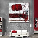 WHUI pintura al óleo Primavera Blooming Paisaje Rojo Sin Marco Pintado A Mano Pintura de la Lona Arte de la Pared Listo Para Colgar Salón Dormitorio Decoración del hogar