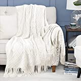 White Knit Throw Blanket for Couch Bed Soft Textured Woven Blanket 50' x 60' Sofa Throw Blanket Lightweight Decorative Blanket with Tassels Fluffy Large Blanket for Living Room