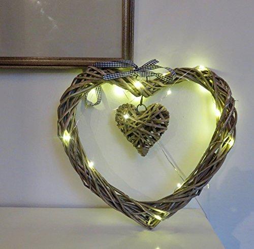 Großes Weide-Herz mit kleinen, baumelndem Herzen Beleuchtet 20LED-Lampen mit 3AA-Batterien im Lieferumfang enthalten Durchmesser: 30 - 35 cm