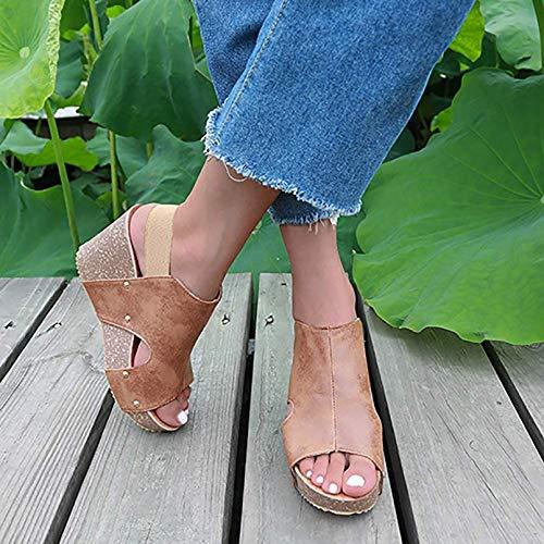 XXXZZL Sandalias Mujer Plataforma Verano Casual de Cuña Plateau Moda Sandalias de Vestir para Mujer Casuales Zapatos de Playa Sandalias Chanclas de Damas,A,36