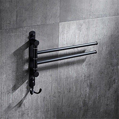 Hlluya Handtuchhalter An der Wand montierte Retro schwarz Edelstahl klappbar schwenkbarer Handtuchhalter mit Einem Kleiderhaken, 2 bar