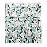 BIGJOKE Duschvorhang, Winter-Pinguin-Muster, schimmelresistent, wasserdicht, Polyester, 12 Haken, 167,6 x 182,9 cm, Heimdekoration