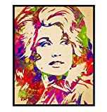 Dolly Parton Wall Art Poster - 8x10 Original Pop Art Decor for Bedroom, Living Room - Cool Unique Gift for Country Music, Nashville, Dollywood Fans - UNFRAMED Decoration Print