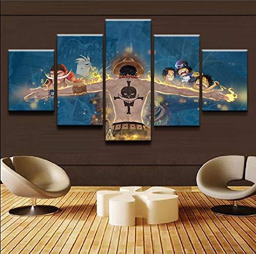Baobaoshop Malerei imagework Wohnkultur Wandkunst 5 Panel Künstlerische One Piece Poster Leinwand Modulare Bild Für Kinderzimmer Drucke-Rahmen