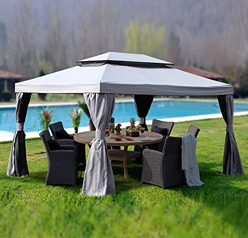 Goognice 10x13 Feet Patio Gazebo with Mosquito Netting and Zipped Shade Curtains,Outdoor Instant Canopy for Backyard & Party, Sturdy Straight Leg Tent