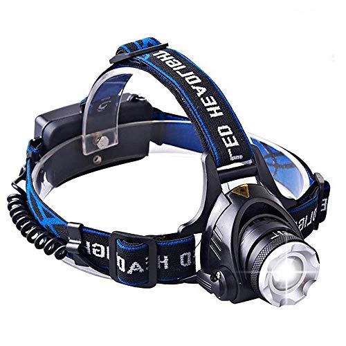 C CORUSCATE BEAM 1800 Lumens CREE LED Headlamp Super Bright Waterproof Zoomable 3 Modes with Rechargeable Batteries Hands-Free Headlight Torch Flashlight for Biking Camping Hunting Fishing