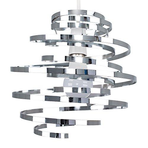 MiniSun - Paralume moderno, spirale e contemporaneo, di metallo con finitura di colore cromato lucido nello stile di due nastri - per lampada a sospensione
