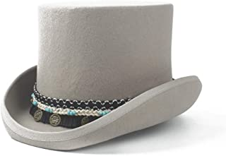 WUNONG-AU 100% Wool Crazy Hat Braided Tassel Round Pendant Traditional Flat Women Men Steampunk Top HatTop Hat President Hat Steampunk Magician Hat (Color : Gray, Size : 61CM)