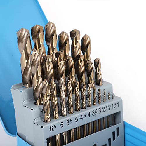 COMOWARE Cobalt Drill Bit Set- 25Pcs M35 HSS Twist Jobber Length for Hardened Metal, Stainless Steel, Cast Iron and Wood Plastic with Metal Indexed Storage Case, 1mm - 13mm
