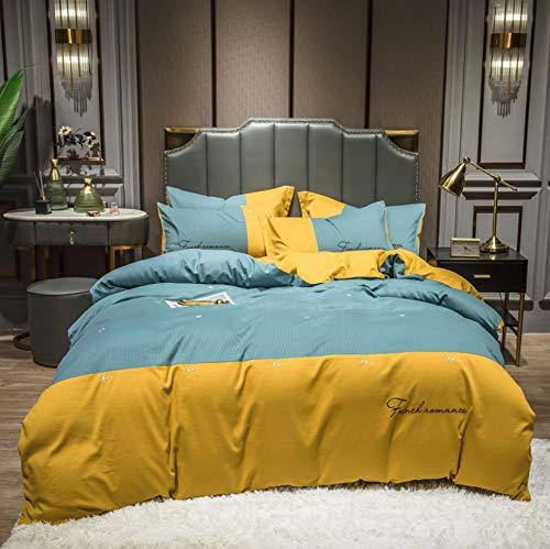 DUIPENGFEI 180S Modern Simple Brushed Four-Piece Cotton Full Set, Duvet Cover, Yellow, Double Size Duvet Cover 200 * 230Cm
