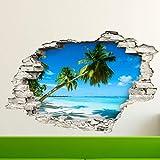 Stickers adhésifs Effet 3D | Sticker Autocollant Palmiers sur Plage de Sable blan - Décoration Murale Trompe l'œil Chambre et Salon - 60 x 90 cm