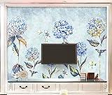 Tapete 3D Fototapete Blaue Hortensie Des Handgemalten Aquarells Schön Wandbild Wohnzimmer Küche Schlafzimmer Wandtapete Dekoration'300cmx210cm
