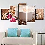 GUANGYING Cuadros de Lienzo decoración del hogar Impresos 5 Piezas Granos de café Taza de café Pinturas Comida Postre Cartel Cocina café Arte de Pared Modular