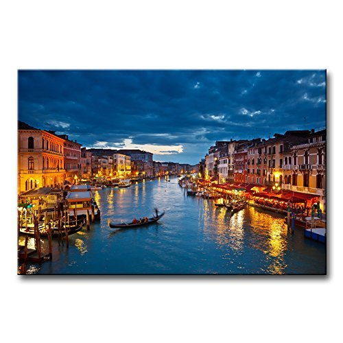 Italy Venice Grand Canal At Night Wall Art Painting The Picture Print On Canvas The Basilica Di Santa Maria Della Salute Pictures Modern Artwork For Living Room Dining Room Home Decor Decoration Gift