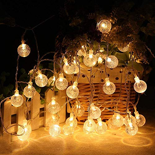 BIUYO Globe String Lights Battery Operated 5M 50LED Garden Fairy Lights 8 Modes Remote Waterproof Indoor Outdoor Decorative Lights for Christmas Party Birthday Patio Garden Wedding (Warm White)