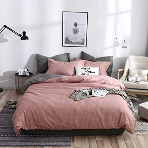 Lili 2019 New Ins Bedding Set Cotton Solid Plaid AB Side Brife Modern Bed Comforter Twin Queen King Size 3/4pcs Duvet Cover Sheet Set,Soild Pink-Gray,Queen