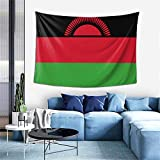 ZHYY Malawi National Flag Country Banner Tapestry Wall Hanging Decoration Tapestries for Bedroom Living Room Dorm Indoor Home Decor (60x40 inch)