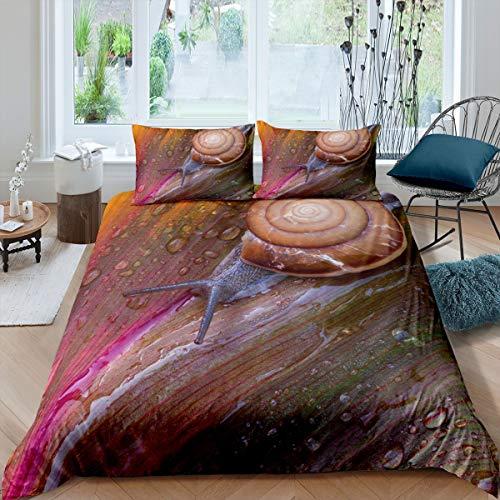 Sniglar täckesset för barn pojkar tonåringar 3D reptiltryck sängkläder set löv ränder täcke mollusk djurmönster sängöverkast överdrag, rumsdekor 3 st sängkläder kingstorlek