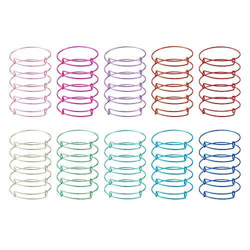 Cheriswelry Expandable Bangle Bracelets, 10 Colors Adjustable Wire Blank Bangles Torque Bangle Bracelets 2-3/8'(6.1cm) for DIY Jewellery Gifts Making