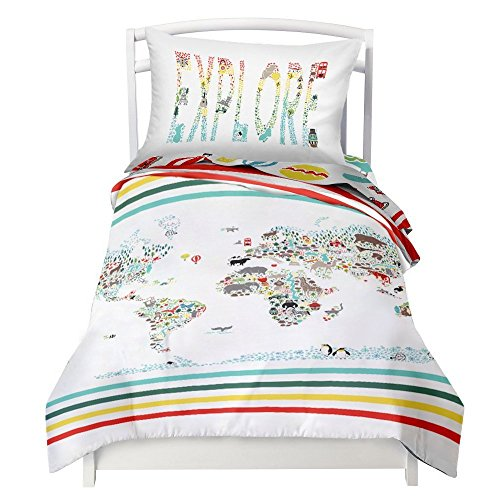 Where The Polka Dots Roam Twin Size Bedding Duvet Cover World Map Design 2 Piece Set │ Unisex, Soft Brushed Microfiber, Durable, Wrinkle-Resistant, Allergy Free │ Adults, Men, Women, Teens, Kids