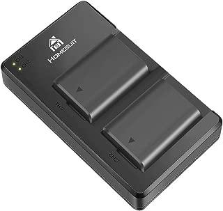 Homesuit NP-FW50 バッテリー USBデュアル 充電器 キット 対応機種A6000 Battery, A6500, A6300, A7, A7II, A7RII, A7SII, A7S, A7S2, A7R, A7R2, A55, A5100, RX10アクセサリー(2パック、マイクロUSBポート、1300mAh)