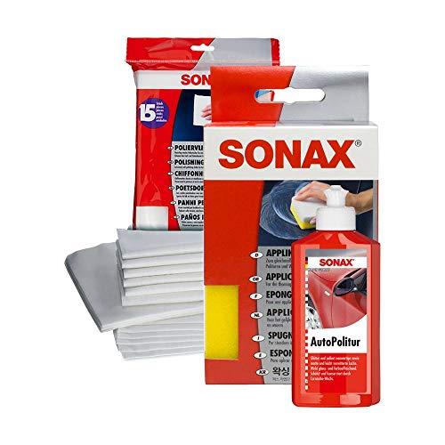SONAX Pflege Set Auto Politur + Poliervlies Tuch Tücher + Applikation Schwamm