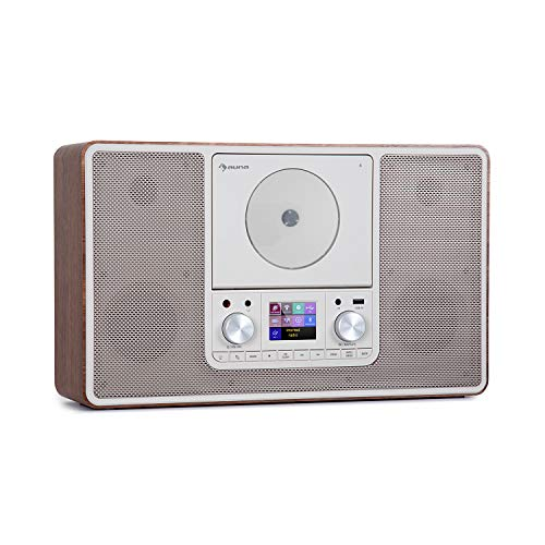auna Scala VCD-IR - Radio Digital con Internet, Sintonizador Dab/Dab+/FM, Bluetooth, Reproductor CD, USB, AUX, 2 x 10 W RMS, Posible Montaje en Pared, Pantalla TFT 2,4'', Luz LED Ambiental, Marrón