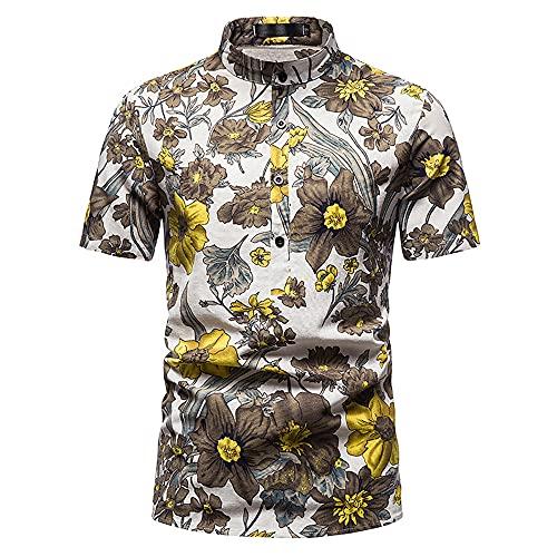 Playa Shirt Hombre Verano Ajuste Regular Moderno Hombre Cuello Alto Shirt Moda Estampado Deportiva Camisa Botón Placket Hawaii Camisa Vacaciones Casuales Hombre Correr Shirt D-004 3XL