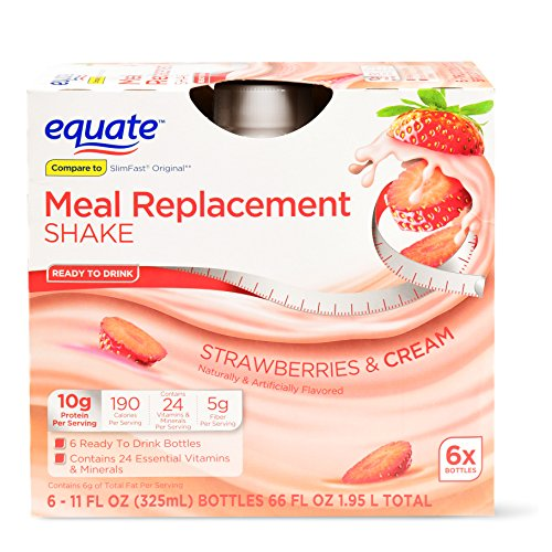 PACK OF 6 - Equate meal replacement shake, strawberries & cream, 66 Oz
