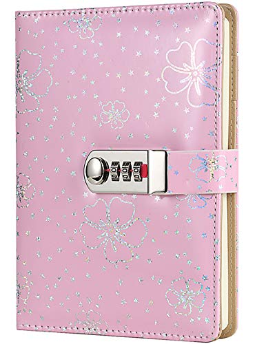 Nitukany Diary with Lock for Women Girls Lockable Leather Journal Lined Refillable Locking Floral Flower Writing Diary Secret Password Personal Notebooks